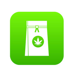 bag with cannabis icon digital green vector image