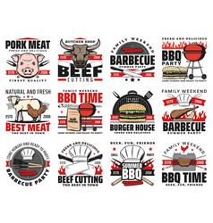 barbecue and grill meat bbq party icons vector image