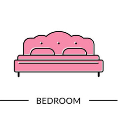 Bed bedroom furniture line icon vector