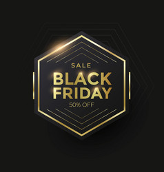 black friday sale banner with golden shape vector image