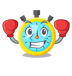 Boxing stopwatch in the cartoon shape funny vector