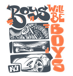 boys t-shirt graphics print design vector image