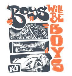 Boys t-shirt graphics print design vector