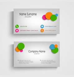 Business card with colored circles template vector