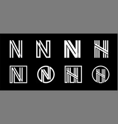 capital letter n modern set for monograms logos vector image