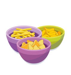 Chipsfrench fries corn chips in color bowls vector
