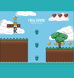 classic videogame scenery vector image