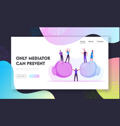 Conflict situation website landing page people vector