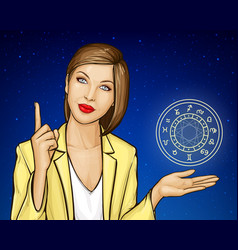 Consultation astrologer woman with zodiac circle vector