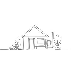 continuous one line drawing green little house vector image