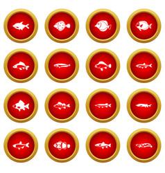 Cute fish icon red circle set vector
