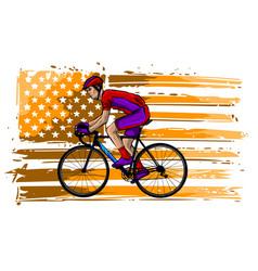 cyclist in helmet - racing bike - isolated on vector image