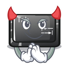 Devil tab button attached to cartoon keyboard vector