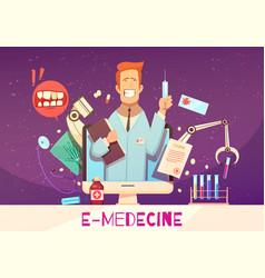 Digital health cartoon vector