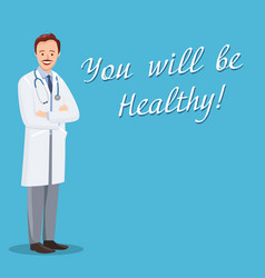 Doctor on background of blue boards with text vector