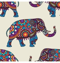 Doodle indian elephant seamless pattern vector image