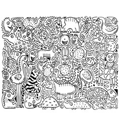 doodle monochrome poster with hand-drawn zoo vector image