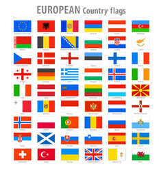 european national flags set vector image