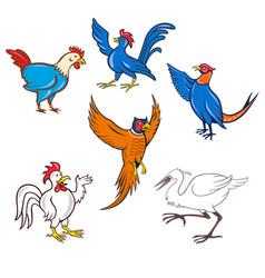 Fowl cartoon set vector