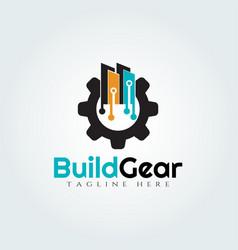 Gear and city logo design vector