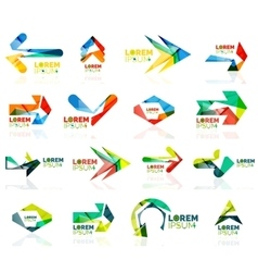 Geometric shapes arrow company logo set paper vector