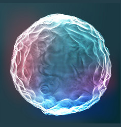 glowing abstract sphere data wireframe vector image