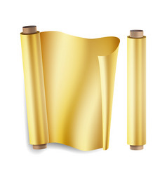 Gold foil roll close up top view opened vector