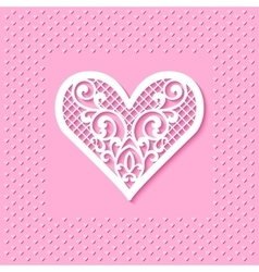 Greeting card with a lace heart vector image