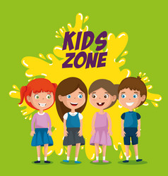 group of happy kids zone characters vector image