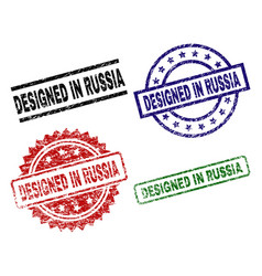 grunge textured designed in russia stamp seals vector image