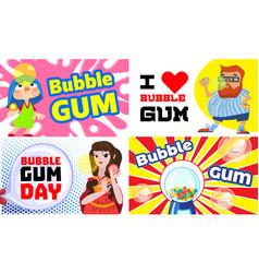 Gum chewing banner set cartoon style vector