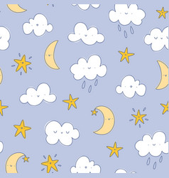Happy cartoon clouds moon and stars pattern vector