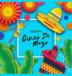 Happy cinco de mayo greeting card colorful paper vector