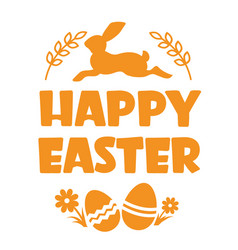 happy easter text silhouette with rabbit and eggs vector image
