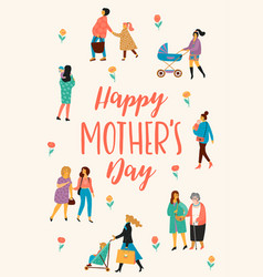 Happy mothers day with women vector