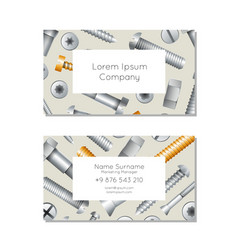 Hardware store business card layout with bolts vector
