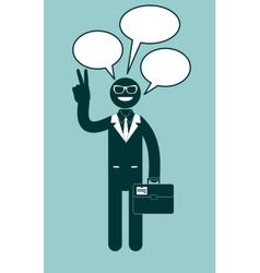 Icon black man with dialogue vector image