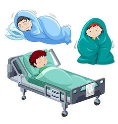 Kids being sick in bed vector