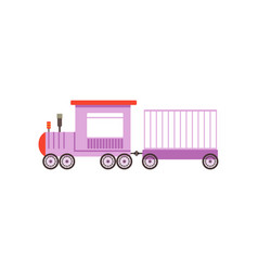 kids cartoon purple toy train railroad toy with vector image