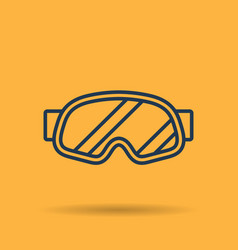 Linear icon of sports mask of snowboarder vector