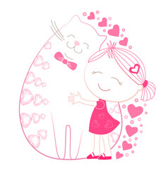 Little girl with big plump cat vector