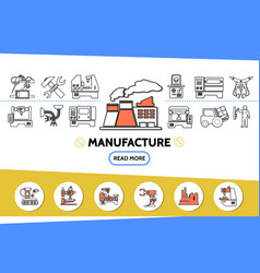 Manufacture line icons set vector