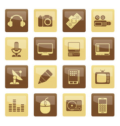 media equipment icons over brown background vector image