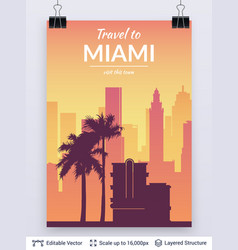 Miami famous city scape vector