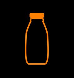 milk bottle sign orange icon on black background vector image