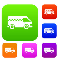 minibus taxi set collection vector image