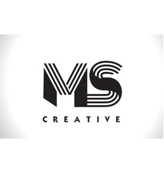 ms logo letter with black lines design line letter vector image