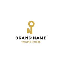 n letter key logo icon vector image