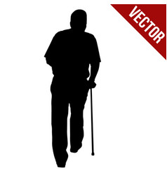 old man silhouette with stick vector image