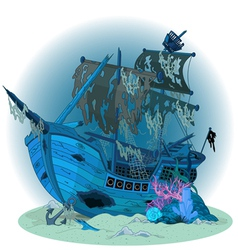 Old ship background vector image
